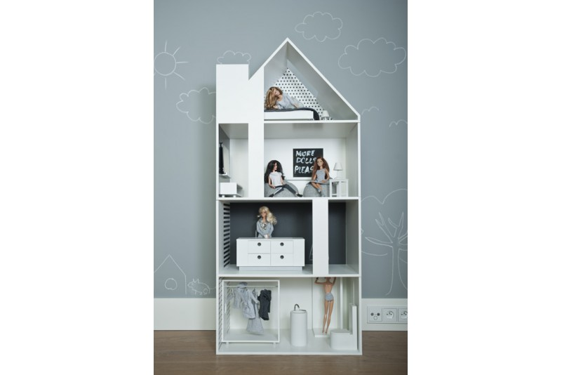 Dollhouse white with wallpapers boomini modern dollhouses for Big modern dollhouse